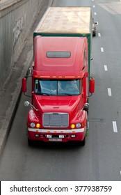 Kiev, Ukraine - June 08, 2011. Red Freightliner Century Class semi-trailer truck