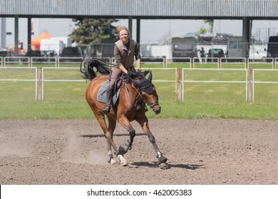 Kiev, Ukraine - June 09, 2016: Girl on a horse trained in show jumping