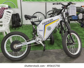 KIEV, UKRAINE - JUNE 10, 2016: Ukrainian police electric bike closeup on display of First International Trade Show of Electric Vehicles Plug-In Ukraine in KyivExpoPlaza Exhibition Center.