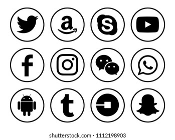 Kiev, Ukraine - June 10, 2018: Set of popular social media icons printed on white paper: Facebook, Instagram, WhatsApp, Tumblr, Snapchat, Youtube, Amazon, Skype, Android, Twitter, Uber, WeChat.