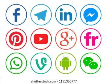Kiev, Ukraine - June 10, 2018: Set of popular social media icons printed on white paper: Facebook, Telegram, LinkedIn,Pinterest,Vine,Flickr,WhatsApp, Messenger,Google Plus, Youtube, Android, WeChat.