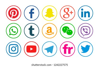 Kiev, Ukraine - June 10, 2018: Set of popular social media icons printed on white paper: Facebook, Snapchat, Twitter, Youtube, Instagram, Linkedin, Pinterest, WhatsApp, Viber, Telegram,Tumblr,Amazon.