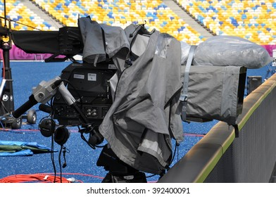 KIEV, UKRAINE, JUNE 11, 2012, The Camera from Behind the Goalkeeper's Gate that Records the Goal Moments of the Balls Getting into the Net, Olympic Stadium, March Day, Documentary Editorial