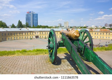 Kiev, Ukraine - June 11, 2018: The cannon of Kiev Fortress (New Pechersk Fortress) - a complex of fortress structures of the XVIII-XIX centuries in Kiev