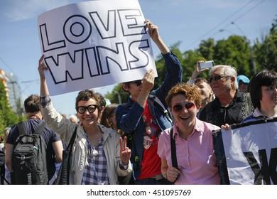 KIEV, UKRAINE - June 12, 2016: Ukrainian gay rights activists take part in a march in Kiev, Ukraine, Sunday, June 12, 2016. About one thousand gay rights activists marched in central Kiev on Sunday.