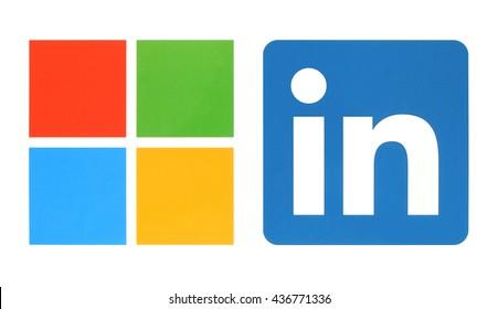 Kiev, Ukraine - June 13, 2015: Microsoft and Linkedin logos printed on white paper.