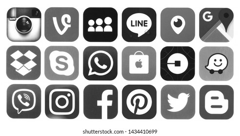 Kiev, Ukraine - June 15, 2019: Set of black and white popular social media icons: Viber, Pinterest, Twitter, YouTube, WhatsApp, Snapchat, Facebook, Skype, Instagram and others printed on white paper
