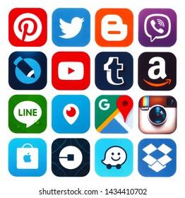 Kiev, Ukraine - June 15, 2019: Set of popular social media icons: Viber, Pinterest, Twitter, YouTube, WhatsApp, Snapchat, Facebook, Skype, Instagram, Flickr and others printed on white paper