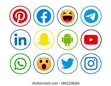 Kiev, Ukraine - June 15, 2021: Facebook, like button  Empathetic Emoji reactions, Pinterest,Android, LInkedin, Snapchat,Instagram, Twitter, Telegram, WhatsApp,  YouTube, printed on paper.