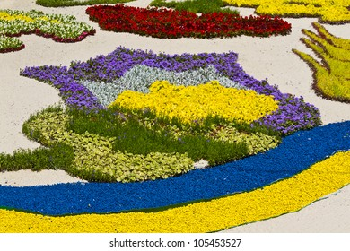 KIEV, UKRAINE, JUNE 17: Fragments of the compositions. Flower Show in Kiev, dedicated to the European football championship held in Ukraine and Poland. June 17, 2012, Kiev, Ukraine