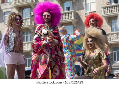 Kiev, Ukraine - June 18, 2017: Transsexuals in masquerade costumes make a show during the gay parade