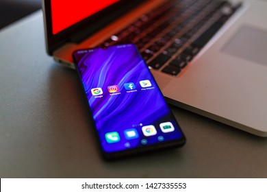 Kiev, Ukraine- June 18 2019: Close up photo of Huawei, Google, Facebook app icons on a smartphone screen. Illustrative photo for the recent news about US -China tech giants.