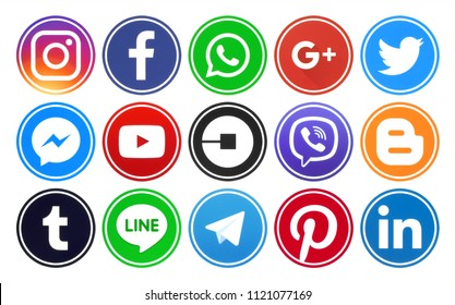 Kiev, Ukraine - June 19, 2018: Popular circle social media icons with rim printed on paper: Facebook, Twitter, Google Plus, Instagram, Linkedin, Uber, Youtube, Viber, Blogger and others.
