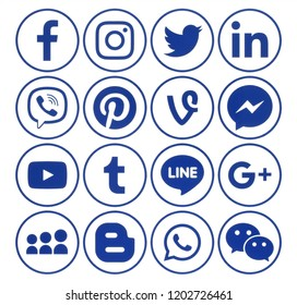 Kiev, Ukraine - June 19, 2018: Collection of popular circle blue social media icons with rim, printed on white paper: Facebook, Twitter, Google Plus, Instagram, Pinterest, LinkedIn, Tumblr and others