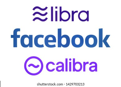 Kiev, Ukraine - June 19, 2019: Facebook, Calibra and Libra logos printed on paper. Libra is a proposed permissioned blockchain virtual currency by the American social media conglomerate Facebook