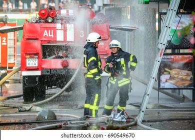 Kiev, Ukraine - June 20, 2017: Firefighters  in central Khreshchatyk street in Kiev