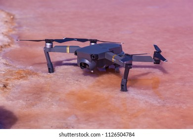 Kiev Ukraine June 20, 2018 DJI Mavic Pro on the pink salty lake. Mavic Pro is the newest DJI product with a compact and foldable design.