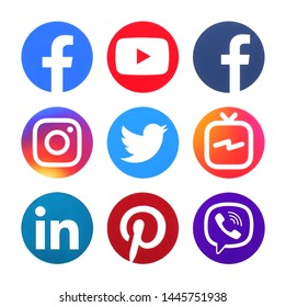 Kiev, Ukraine - June 20, 2019: Collection of popular social media circle logos printed on paper: Facebook, Tango, Viber, Instagram, Linkedin, Twitter, Pinterest, YouTube,Wha