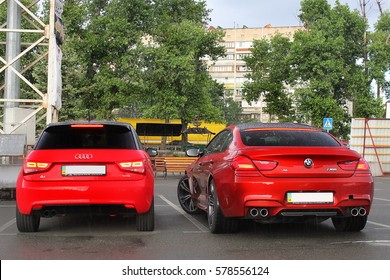 Kiev, Ukraine; June 25, 2013; BMW M6 And Audi A3 On The