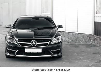 Kiev, Ukraine; June 25, 2013;  Mercedes-Benz CL65 AMG. Black and white photo. Editorial photo.