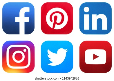 KIEV, UKRAINE - JUNE 25, 2018:  This is a photo collection of popular social media logos printed on paper: Facebook, Twitter, LinkedIn, Instagram, Tango, Youtube  and other