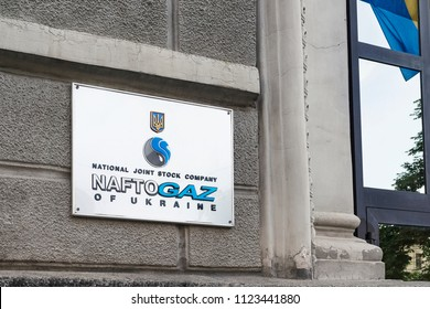"Kiev, Ukraine – June 27, 2018: The sign on the office building of the National Joint-Stock Company ""NAFTOGAZ OF UKRAINE"" in English language."