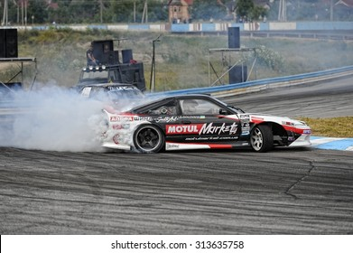 """Kiev, Ukraine - June 28, 2015 on the circuit, """"The Seagull"""" in Kiev held a grand event of this summer - Ukranian Drift Challenge (UDC) in 2015."""