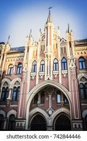 KIEV, UKRAINE - JUNE 3, 2017: Neogothic pink castle built by Nikolay Vishnevsky. Historical building in Kiev center, Ukraine