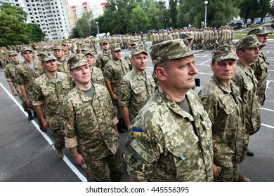 Kiev, Ukraine - June 30, 2016: The officers marching during the early 19 th issue of the officers in the Military Institute of Kyiv National Shevchenko University