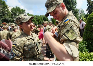 Kiev, Ukraine - June 30, 2016: Officers during the early 19 th issue of the officers in the Military Institute of Kyiv National Shevchenko University