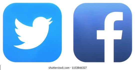 KIEV, UKRAINE - JUNE 30, 2018:  This is a photo collection of popular social media logos printed on paper: Facebook, Twitter