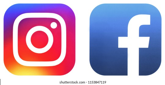 KIEV, UKRAINE - JUNE 30, 2018:  This is a photo collection of popular social media logos printed on paper: Facebook, Instagram