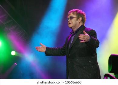 KIEV, UKRAINE - JUNE 30: Singer Elton John performs onstage the Anti-AIDS concert at a Fan Zone during the Euro 2012 soccer championship on June 30, 2012 in Kiev, Ukraine