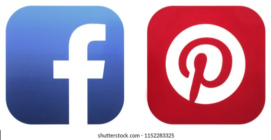 KIEV, UKRAINE - JUNE 31 2018:  This is a photo collection of popular social media logos printed on paper: Facebook, Pinterest;