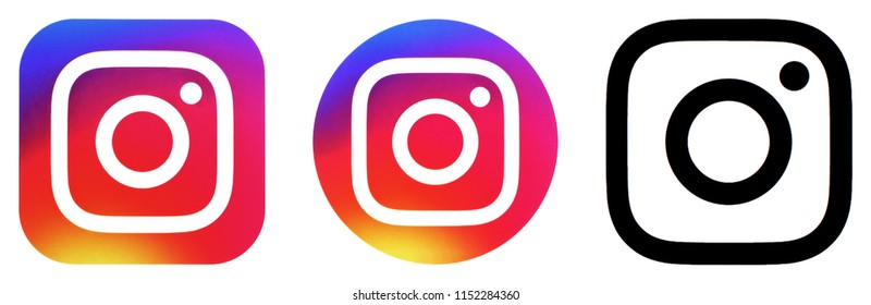 KIEV, UKRAINE - JUNE 31 2018:  This is a photo collection of popular social media logos printed on paper: Instagram