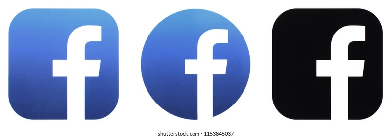 KIEV, UKRAINE - JUNE 31 2018:  This is a photo collection of popular social media logos printed on paper: Facebook