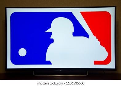 Kiev, Ukraine- June 5, 2018: Logo Major League Baseball on Sony TV
