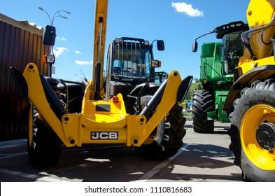 Kiev, Ukraine- June 6, 2018: JCB heavy machinery at the exhibition AGRO 2018.