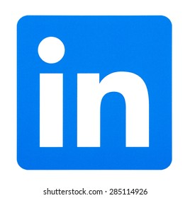 KIEV, UKRAINE - June 7, 2015: Linkedin logo printed on paper and placed on white background. Linkedin is a business-oriented social networking service.