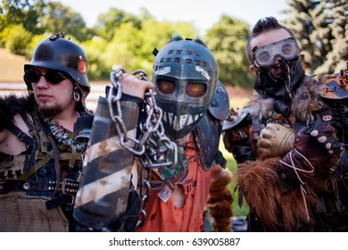 Kiev, Ukraine - June 7, 2015: Kiev Comic Con, an annual fandom convention in Kiev, Ukraine. Young people in costumes during the festival of Kiev comics. Cosplay Marvel, DC. Cosplayers in costumes.