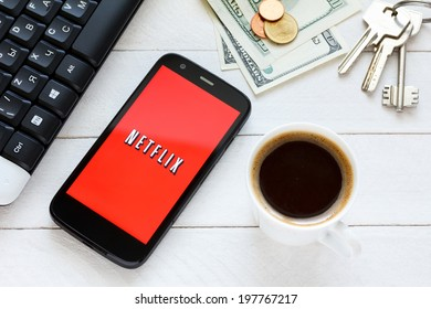 KIEV, UKRAINE - June 9: Netflix service logo on new smartphone, in Kiev, Ukraine, on June 9, 2014.