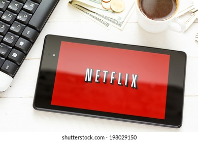 KIEV, UKRAINE - June 9: Netflix service logo on tablet, in Kiev, Ukraine, on June 9, 2014.