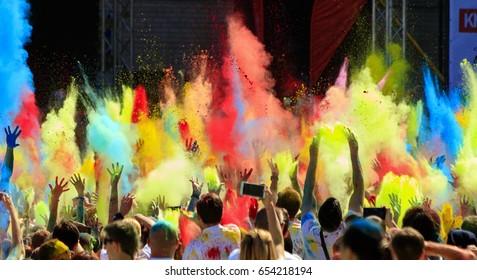 Kiev, Ukraine- June4.2017:Color Holi.