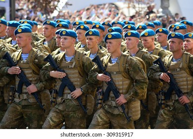 Kiev, Ukraine, Khreshchatyk Street, August 24, 2015. Military march to the Independence Day of Ukraine.