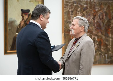 KIEV, UKRAINE - Mar 03, 2016: President of Ukraine Petro Poroshenko awarded Taras Shevchenko National Prizes of Ukraine. The Head of State emphasized that culture was a basis for social consolidation
