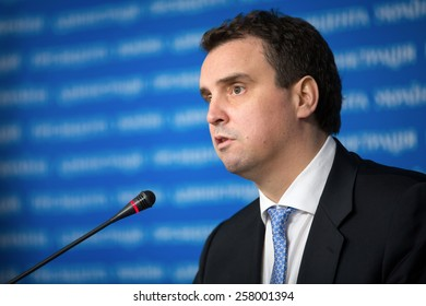 KIEV, UKRAINE - Mar. 04, 2015: Ukrainian Economy Minister Aivaras Abromavicius on briefing after meeting of the National Council reform. Words on background - Administration of President of Ukraine