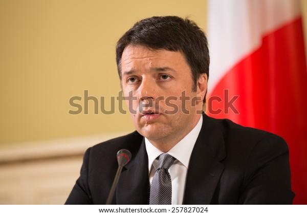 KIEV, UKRAINE - Mar. 04, 2015: Prime Minister of Italy Matteo Renzi during a meeting with the President of Ukraine Petro Poroshenko in Kiev