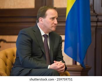 KIEV, UKRAINE - Mar. 11, 2015: Prime Minister of the Kingdom of Sweden Stefan Lofven during a meeting with Ukrainian President Petro Poroshenko
