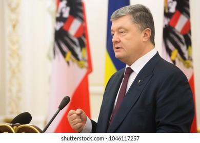 KIEV, UKRAINE - Mar. 14, 2018: President of Ukraine Petro Poroshenko during the meeting with Austrian President Alexander Van der Bellen in Kiev