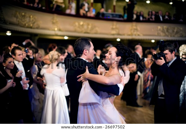 KIEV, UKRAINE - MAR 14: Kyiv's 4th Annual Vienna (Viennese) Ball in National Opera of Ukraine. This annual event, supported by the Viennese city government and the dance took place on March 14, 2009 in Kiev, Ukraine.